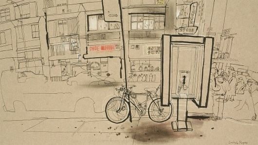 Lucinda Rogers - New York - Phone Booth Haven #lucinda #rogers #paint #illustration #drawing