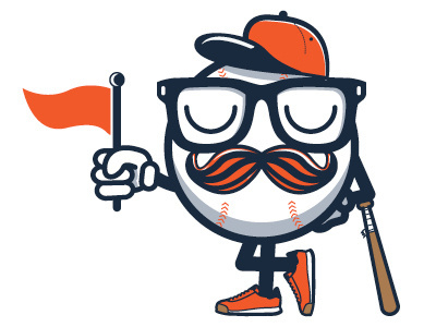 Baseball #stache #design #illustration #baseball #character