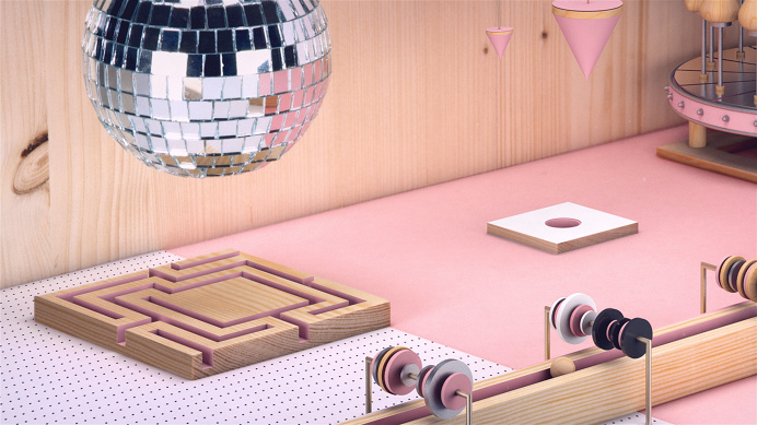 #cgi #3d #animation #motiondesign #geometrical #discoball #cubes #handcrafted #wood #paper #tocame #openingtitles