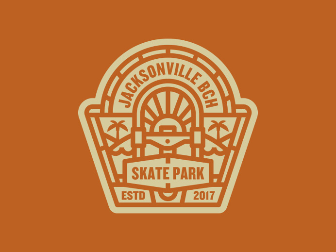 Badge, branding, Jax Beach Skate Park