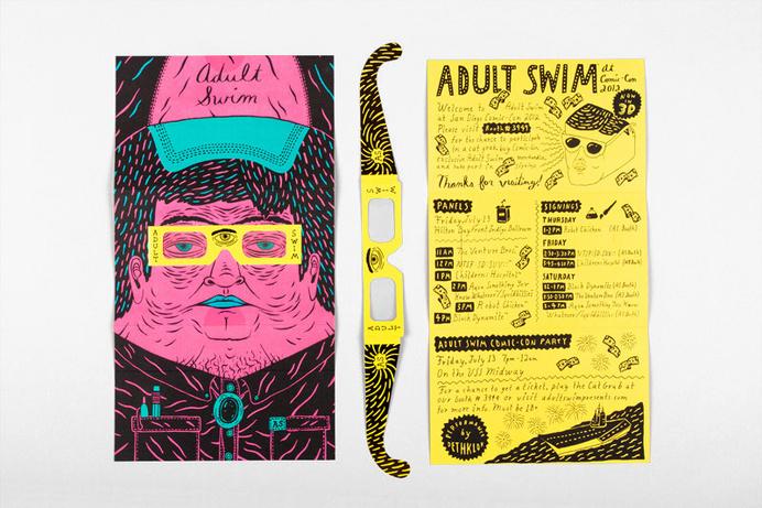 Joseph Veazey #glasses #doodle #card #adult #print #yellow #fuchsia #illustration #swim #3d