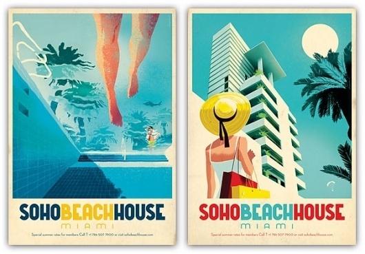Vintage Soho Beach House illustration in Vintage