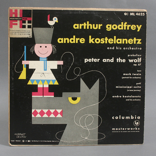 Peter & the Wolf Record Cover by Herbert Leupin #swiss #modern #design #graphic #geometric #bird #record #cover #illustration #leupin #mid #wolf #century #herbert