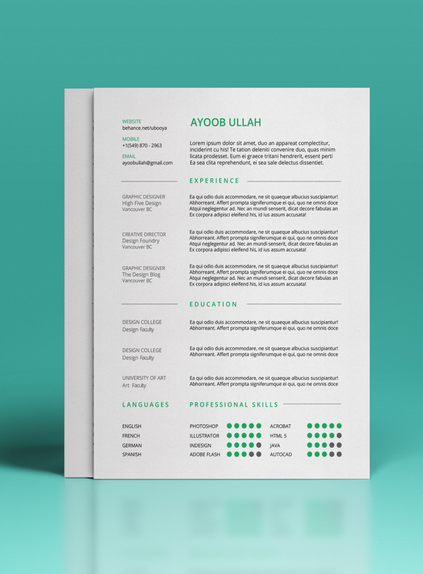 FREE Resume Template on Behance #cv #resume