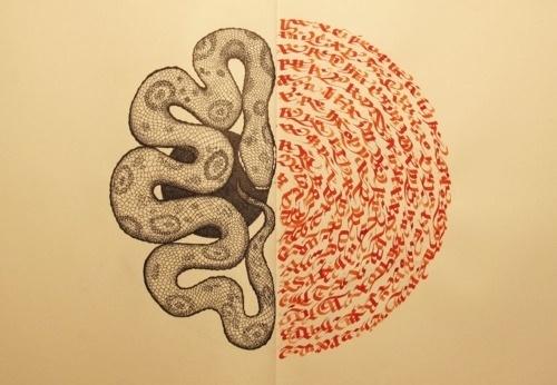 Domenico Romeo #calligraphy #snakes #illustrations #snake