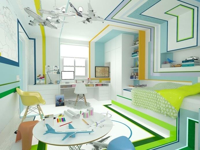 The Little Pilot - a room for a boy who loves airplanes - www.homeworlddesign. com (1) #kids #interior #design #room