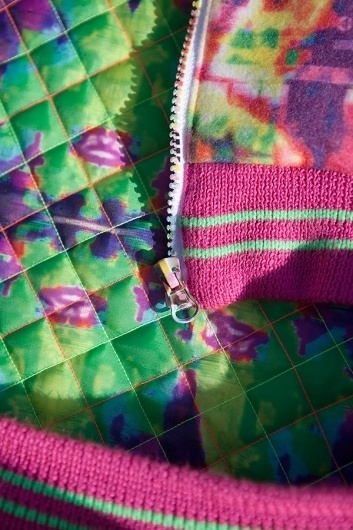 Details - Bethan Heslop —Graduate Collection #model #pink #neon #print #jeans #varsity #sportswear #hat #fashion #green