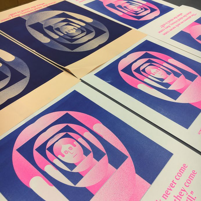 Busy minds do not mean productive minds - Our designer in residence @trevorfinnegan has been exploring the importance of 'slack time' in his latest #risograph prints at our Dublin Outpost #colour #overprint #riso #arl #designerinresidece #busy #downtime #risograph #printspotters #printmaking