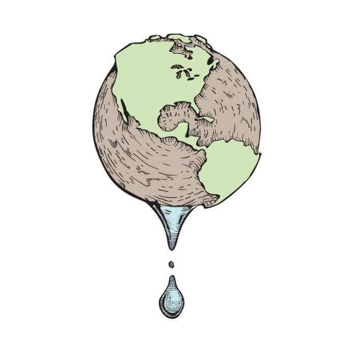 Illustration by Zach Johnson at Coroflot.com #drip #globe #water #world #environment #earth #drought #illustration #disaster #dry #art #future #droplet
