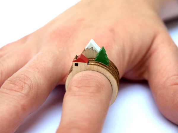 A Tiny Landscape on Your Finger: Birch Rings by Clive Roddy Photo #mountain #white #house #red #cutter #tree #laser #wood #ring #green