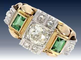 Ring: seltener Antikschmuck, Diamant-/Turmalinring aus der Zeit des Art déco, Mittelstein ca. 1,4ct