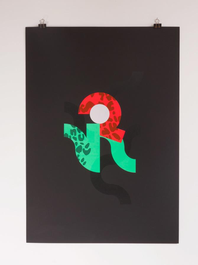 4 color screen print inspired by Run the Jewels's Jeopardy printed on 370gr Fedrigoni Sirio Ultra Black #printmakingmoneygang