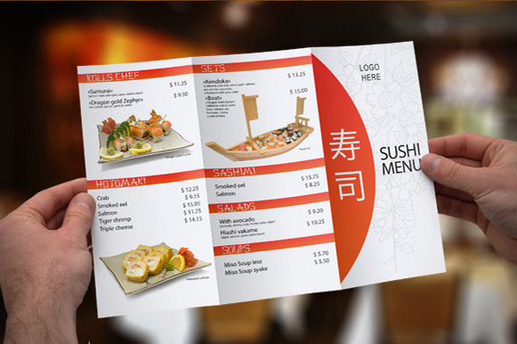 Tri-Fold Sushi Menu Template https://creativemarket.com/itembridge/3858-Tri-Fold-Sushi-Menu-Template Clean and Elegant Tri-fold Sushi Menu #tuna #fold #white #red #menu #japanese #salmon #black #restaurant #sushi #cafe #prices #china #seafood #tri #clean #food #template #trifold #brochure