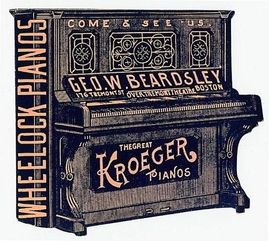 George W. Beardsley / Wheelock Pianos / Kroeger Pianos | Sheaff : ephemera #diecut #typography