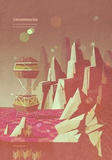Locations   Matthew Lyons #landscape #illustration #scifi #vintage #style