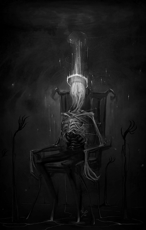 aircis:~ #crown #skeleton #horror #illustration #throne #bones #scary