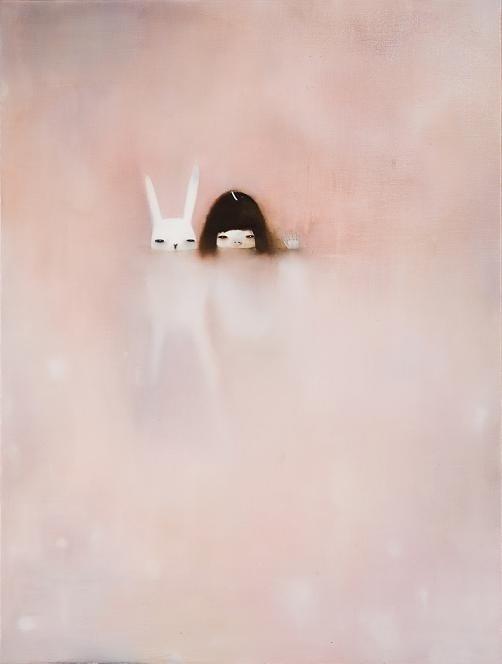 Hanna Kim #paste #fog #girl #illustration #rabbit