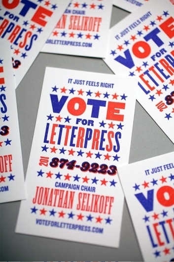 Vote For Letterpress Business Card - FPO: For Print Only #letterpress