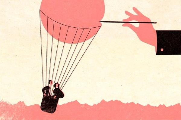 André da Loba #couple #flight #balloon #illustration #needle