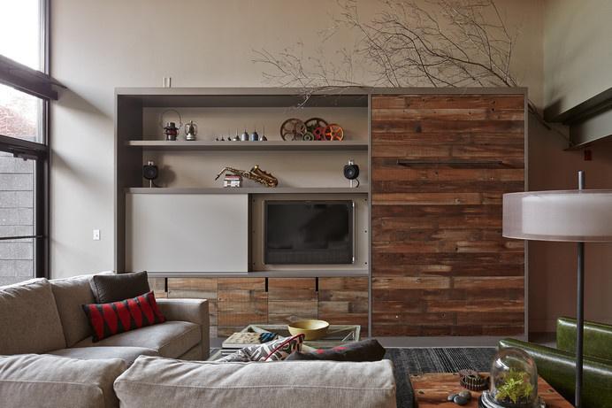 loft - industrial - Living Room - Kansas City - lisa schmitz interior design #wood #media #wall #center