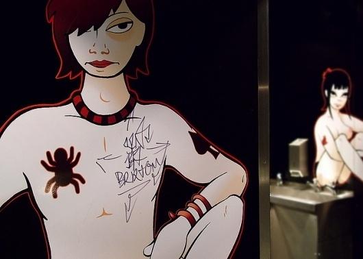 Glasgow Cathouse 1   Flickr - Photo Sharing! #graffiti #illustrations #vinyl #goth #nightclub