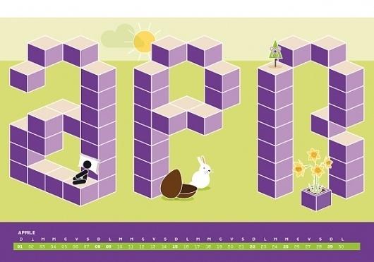 Calendario Algoritmo 2012 on the Behance Network #2012 #april #calendar #illustration #easter #violette #rabbit
