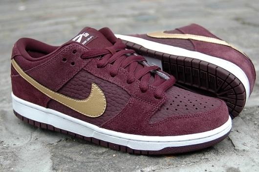 Nike SB Dunk Low Pro (Deep Burgundy/Metallic Gold) | The Daily Street #burgundy #nike #sneakers #gold #trainers