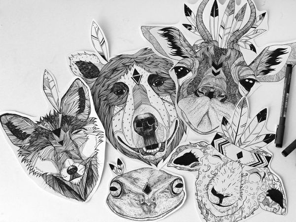illustration, lines, structure, fox, frog, bear, giraffe, aztec, drawing, smiling, happy #happy #giraffe #lines #fox #smiling #structure #illustration #aztec #bear #drawing #frog
