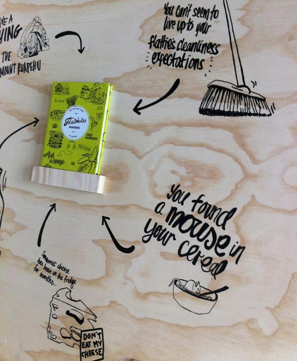 Flatmate's Handbook #display #black #advertising #wood #illustration #vinyl #sticker #green