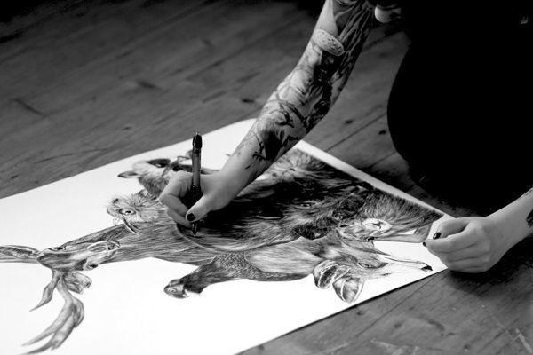 Deep forest on Behance #biro #fox #realistic #illustration #tattoo #animals #forest #rabbit #drawing