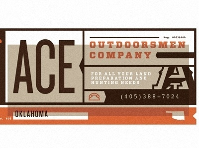 Dribbble - Ace Outdoorsmen Co by Scott Hill #business #card #design #graphic #oklahoma #typography
