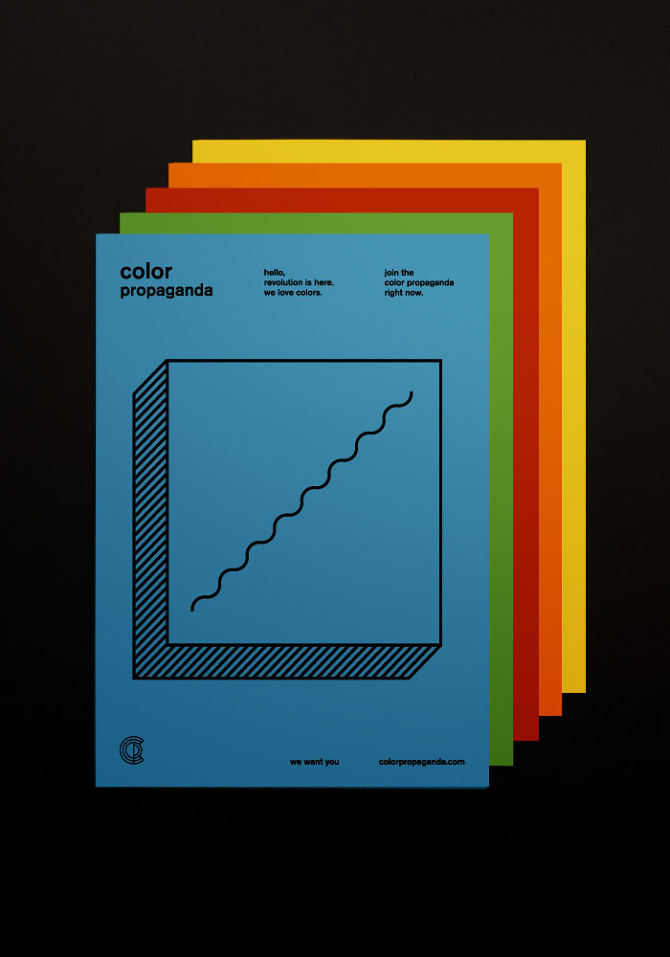 Color Propaganda Postcard - Marco Oggian #events #branding #illustration #postcard #flyer #color #identity #pen #poster #logo #party #draw #photo #photography #bauhaus #pencil #life #rgb #night #art #still