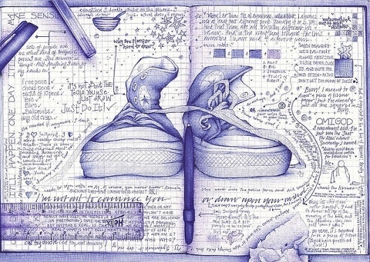 i'm not out to convince you or draw upon your mind | Flickr - Photo Sharing! #doodle #shoes #sketching #ruler #illustration #pen #blue