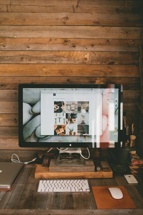 Wooden Workspace #wooden #office #home #desk #workspace