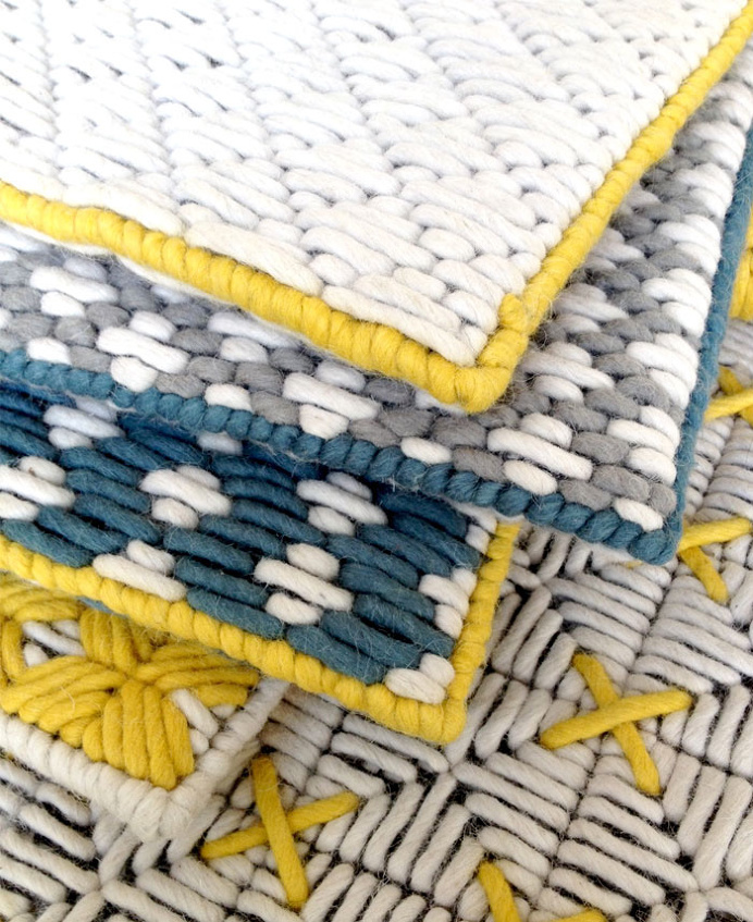Beautiful Harmony of Colours and Textures at Charlotte Lancelot Poufs - #textile, #design, #fabrics, #patterns, textile,