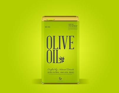 Free Modern Olive Oil Tin Can Mockup PSD