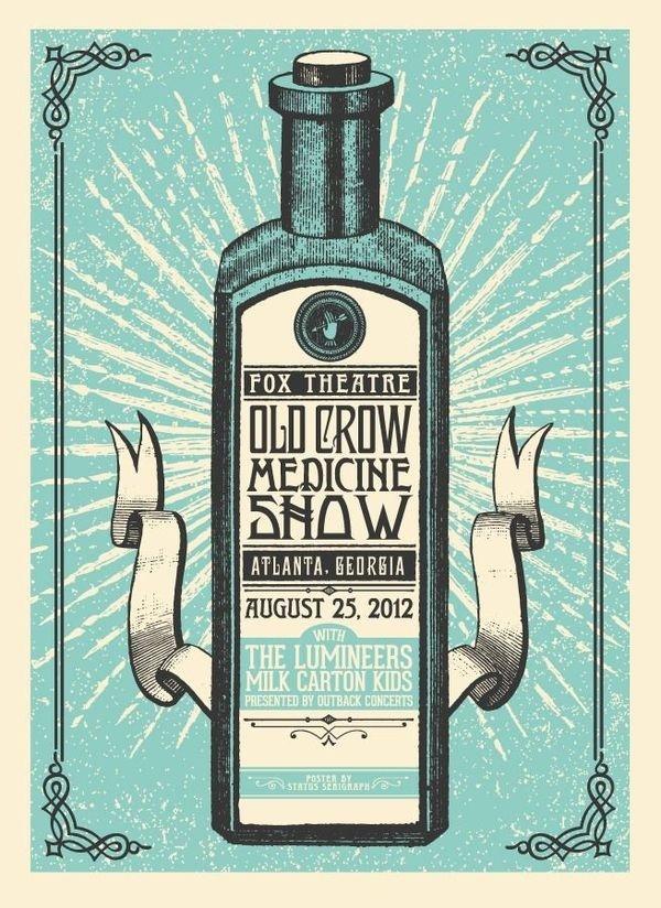 Old Crow Medicine Show Poster Designed by Justin Helton #old #gig #poster #crow #show #medinine