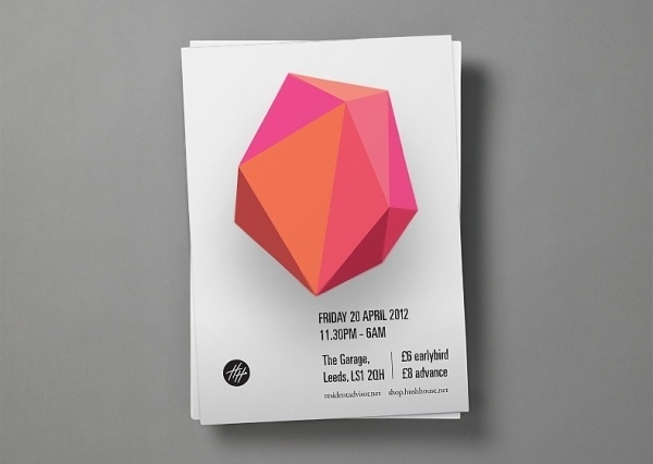 Archie McLeish | ▲ Graphics / Design / Illustration / Painting / & Beyond #hush #pink #event #layout #flyer #orange #shape #poster #music #promotion #fluro #neon