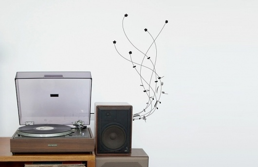 Butter #turntable #speaker #record #notes #vinyl #wall #music #sticker #life #plant