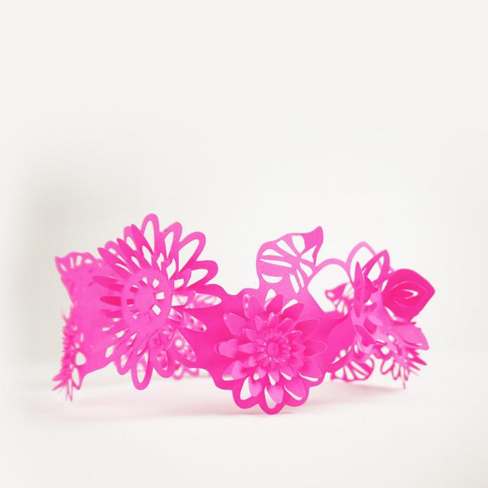 Paper Crowns #paper #design #art #blue #lasercut #paper sculptures #handmade #gift #party #birthday #flower crown #flowers #pink #fluorescen