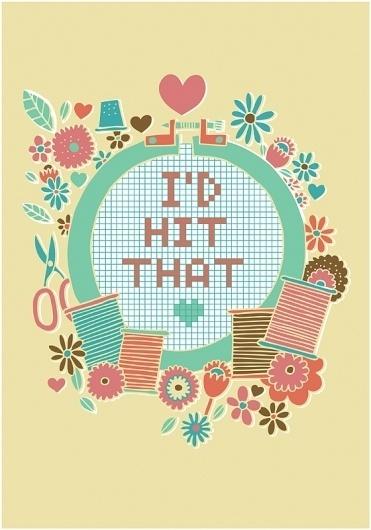 All sizes   Valentines: I'd Hit That   Flickr - Photo Sharing! #cross #illustration #vintage #stitch