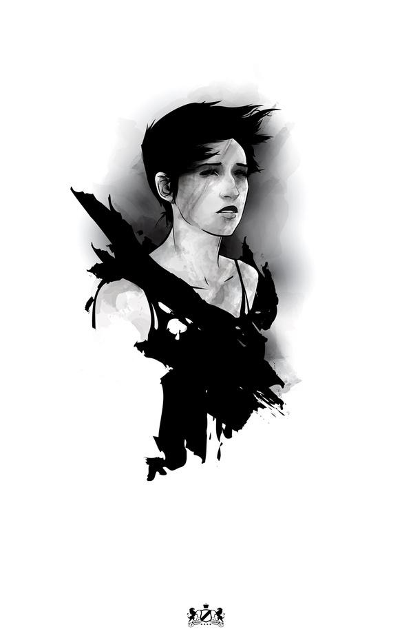 La Belle de la Nuit by novenarik on deviantART #destressed #vector #white #girl #black #and