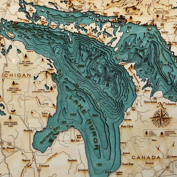 Explore the Underwater Topography of North American Lakes with these Laser Cut Wood Maps by Below the Boat #wood #cut #maps #topography