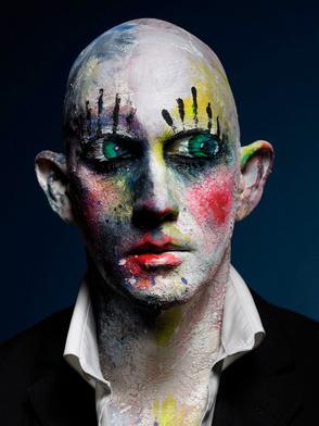 Clown Face self Portrait by PEROU #portraits #celebrity #photography