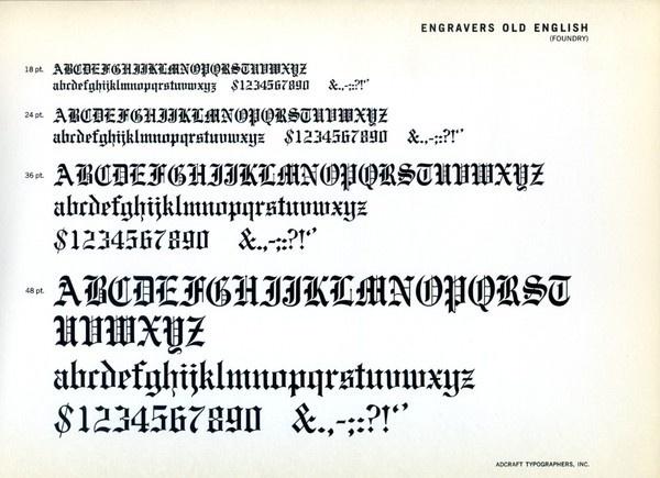 Engravers Old English Font Specimen Type Typography