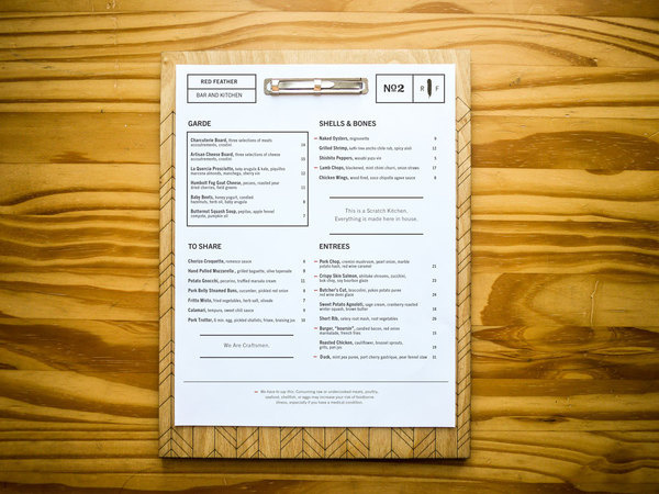 Red Feather menu