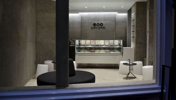 Branding agency award-winning design interiors architect brand London #interior #stone #vonsung #london #design #contemporary #gelato #architecture #polka #lime
