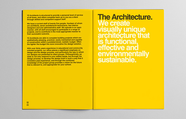 Y2 Architecture #swiss #yellow #bold #circles #black #clean #minimal #helvetica #brochure