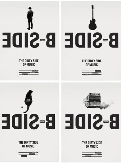 design work life » Sébastien Bisson: B-SIDE Branding #bus #guitar #side #white #cat #black #peeing #poster #man #pollution