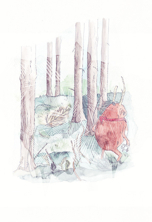 http://www.behance.net/gallery/The-big-plenty-and-the-wee-tubby-sparsely/8447285 #forrest #childbook #illustration #monster #watercolor #trees